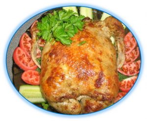 Курица фаршированная грибами и печенью